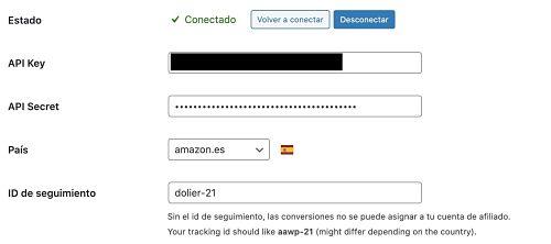 Activar claves API en plugin Amazon