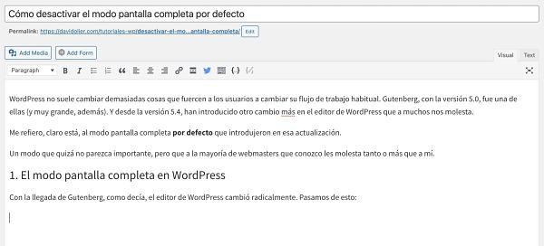 Antiguo editor de WordPress
