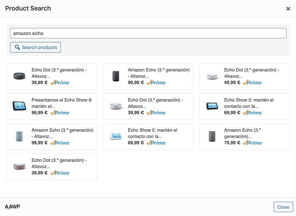 Búsqueda de productos en AAWP plugin