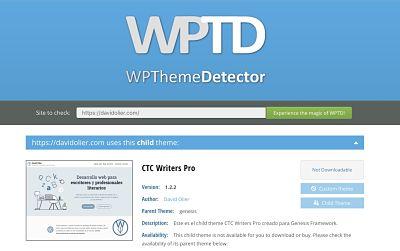 Como elegir plantilla para tu web de escritor en wordpress theme detector