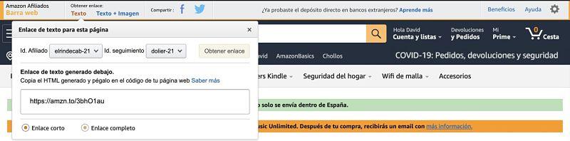 Como usar la barra de afiliados de Amazon