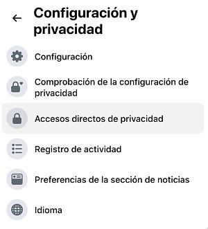 Configuracion y privacidad de Facebook