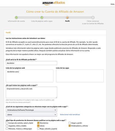 Describe las categorias de tu pagina web para que Amazon sepa en cómo usaras tus afiliados