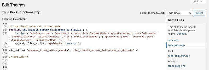 Editar el archivo functions para poner el snippet de quitar modo pantalla completa por defecto