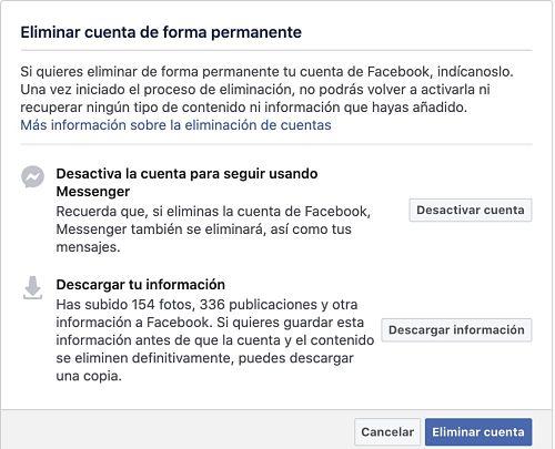 Eliminar cuenta de Facebook de forma permanente