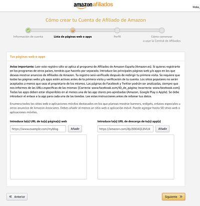 Añade En que webs usaras tu cuenta para afiliados de amazon