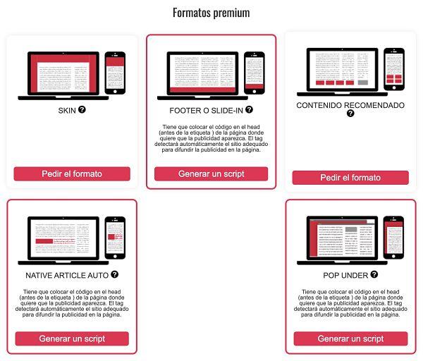 Formatos premium de The MoneyTizer