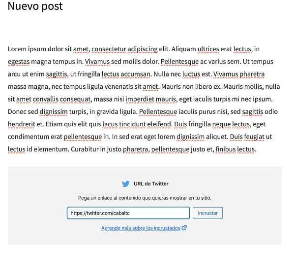 Incrustar el timeline de Twitter en WordPress usando bloques de Gutenberg 2