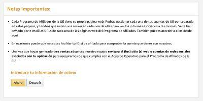 Informacion de cobro para afiliados amazon