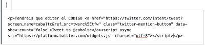 Insertar botones de Twitter en WordPress usando twitter publish editar codigo 2