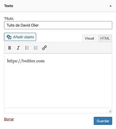 Insertar timeline de Twitter en WordPress en widget