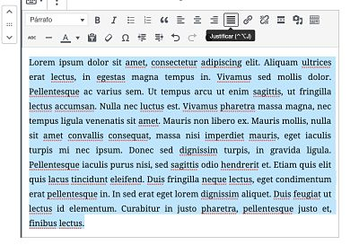 Justificar texto WordPress usando Re ADd text underline and justify 2