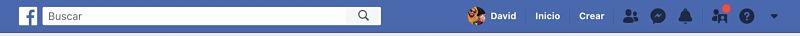Menu clasico de Facebook