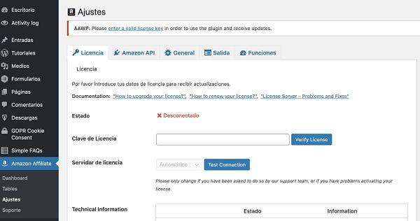 Menu de Amazon Affiliate WordPress Plugin
