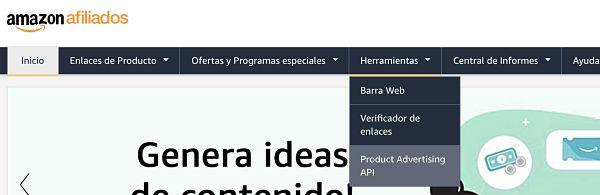Menu de Amazon afiliados API