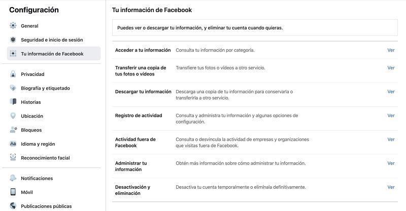 Menu para cerrar cuenta Facebook
