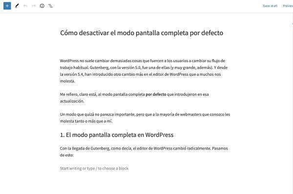 Nuevo editor de WordPress