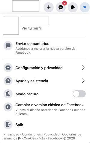 Opciones de configuracion de Facebook