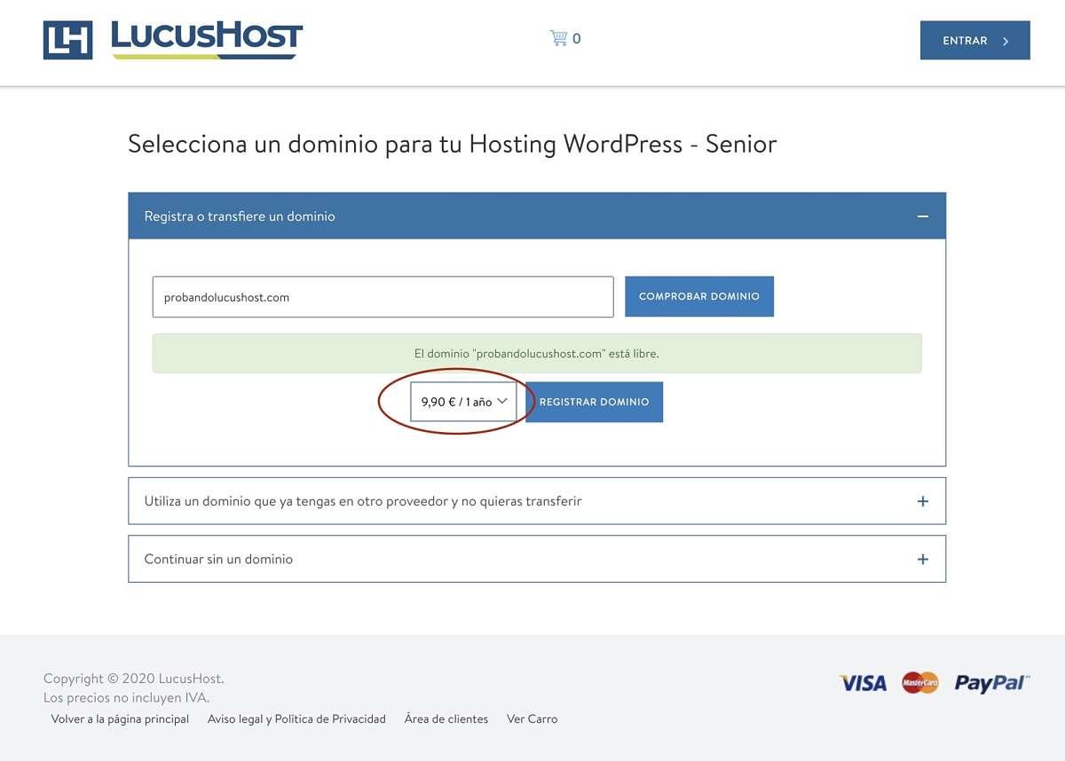 Proceso de compra del hosting Locushost