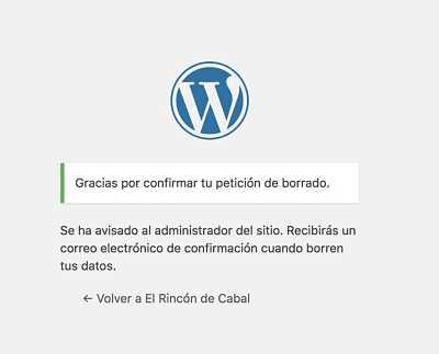 Wordpress y el RGPD aceptar borrado