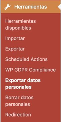 Wordpress y el RGPD menu