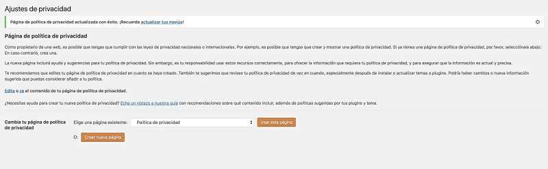 Wordpress y el RGPD politica de privacidad
